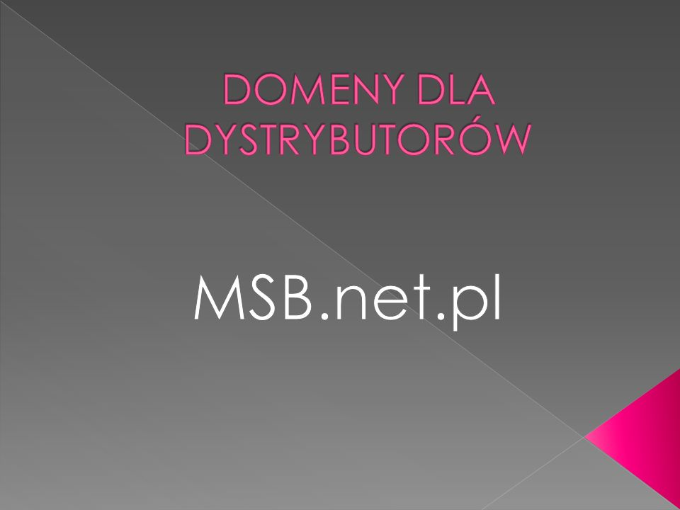 Firmy, które będą zainteresowane utworzeniem swojej domeny prosimy o kontakt: Joanna Miecznikowska, telefon komórkowy: +(48) 662 071 106 Adres mailowy: joanna.miecznikowska@msb.net.pl joanna.miecznikowska@msb.net.pl.