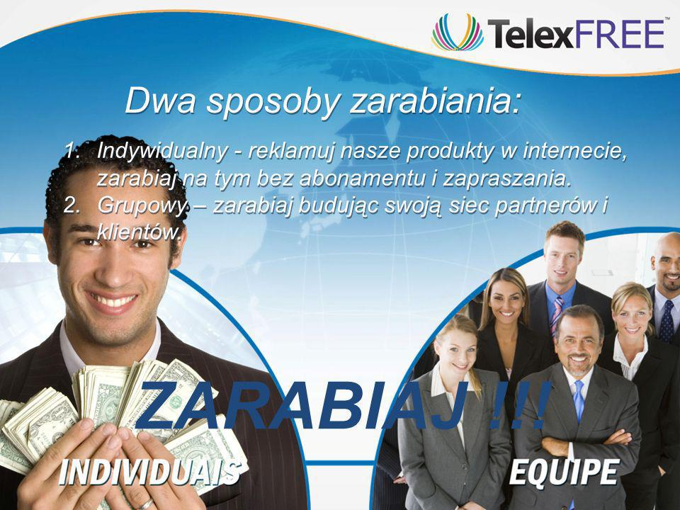 1.Indywidualny - reklamuj nasze produkty w internecie, zarabiaj na tym bez abonamentu i zapraszania.