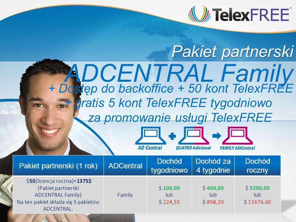 Pakiet partnerski + Dostęp do backoffice + 50 kont TelexFREE + gratis 5 kont TelexFREE tygodniowo za promowanie usługi TelexFREE ADCENTRAL Family