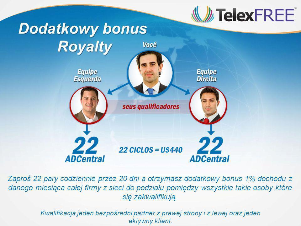 Dodatkowy bonus Royalty Dodatkowy bonus Royalty Zaproś 22 pary codziennie przez 20 dni a otrzymasz dodatkowy bonus 1% dochodu z danego miesiąca całej firmy z sieci do podziału pomiędzy wszystkie takie osoby które się zakwalifikują.