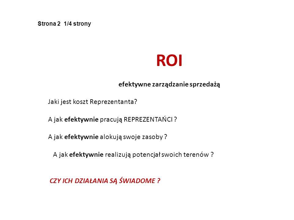 Strona 2 1/4 strony ROI efektywne zarządzanie sprzedażą Jaki jest koszt Reprezentanta? A jak efektywnie pracują REPREZENTAŃCI ? A jak efektywnie aloku