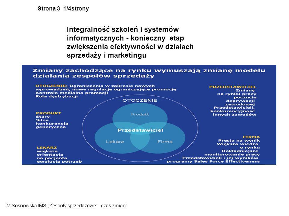 Strona 3 1/4strony Integralność szkoleń i systemów informatycznych - konieczny etap zwiększenia efektywności w działach sprzedaży i marketingu M.Sosnowska IMS Zespoły sprzedażowe – czas zmian