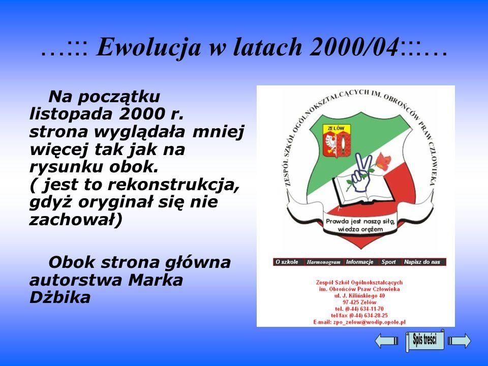 …::: Ewolucja w latach 2000/04 :::… Na początku listopada 2000 r. strona wyglądała mniej więcej tak jak na rysunku obok. ( jest to rekonstrukcja, gdyż