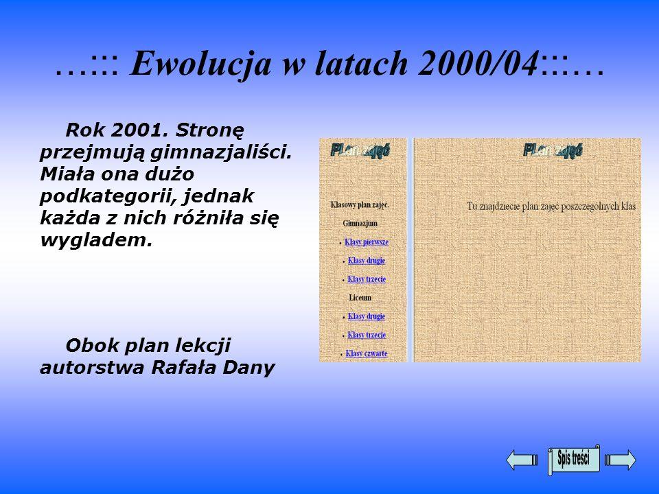 …::: Ewolucja w latach 2000/04 :::… Rok 2001. Stronę przejmują gimnazjaliści. Miała ona dużo podkategorii, jednak każda z nich różniła się wygladem. O