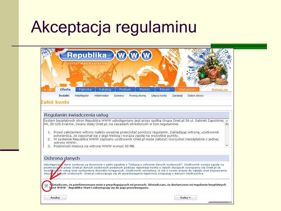 Joanna Brzozowska doradcazawodowy@onet.eu Akceptacja regulaminu