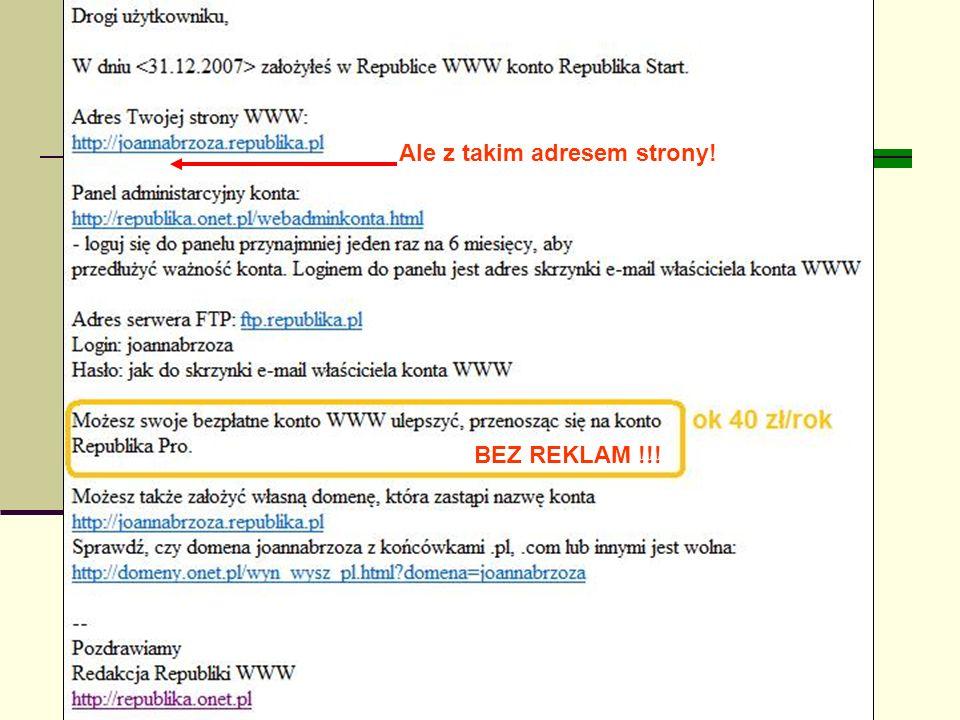 Joanna Brzozowska doradcazawodowy@onet.eu BEZ REKLAM !!! Ale z takim adresem strony!