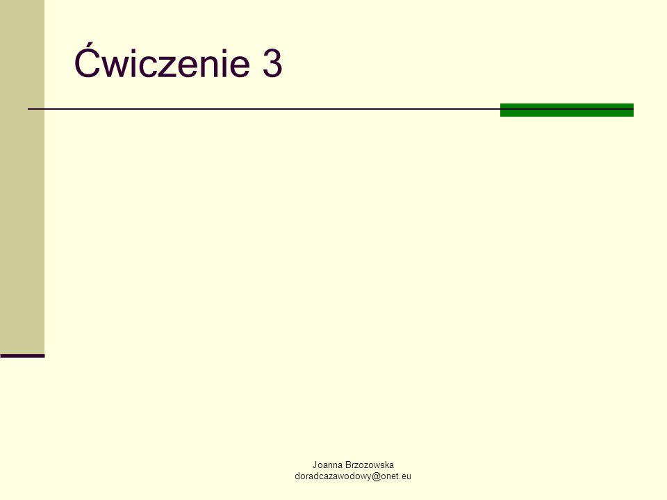 Joanna Brzozowska doradcazawodowy@onet.eu Ćwiczenie 3