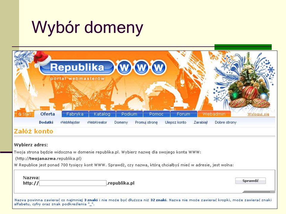 Joanna Brzozowska doradcazawodowy@onet.eu Wybór domeny