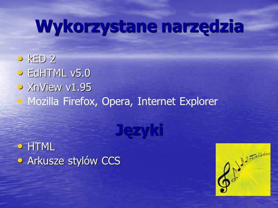 Wykorzystane narzędzia kED 2 kED 2 EdHTML v5.0 EdHTML v5.0 XnView v1.95 XnView v1.95 Mozilla Firefox, Opera, Internet ExplorerJęzyki HTML HTML Arkusze stylów CCS Arkusze stylów CCS