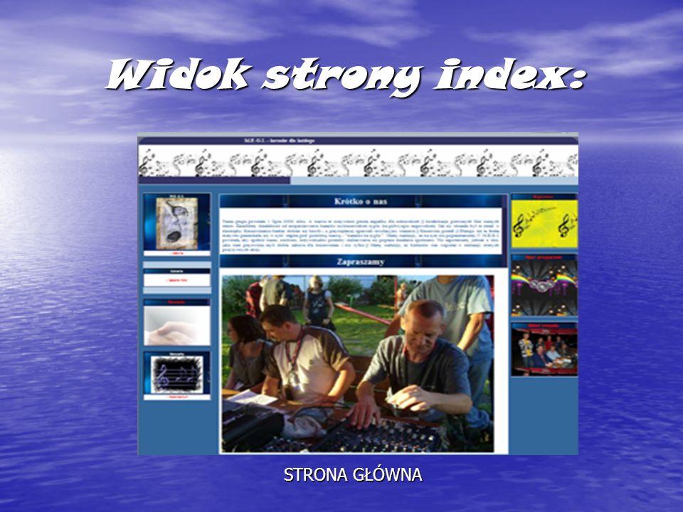 Widok strony index: STRONA GŁÓWNA