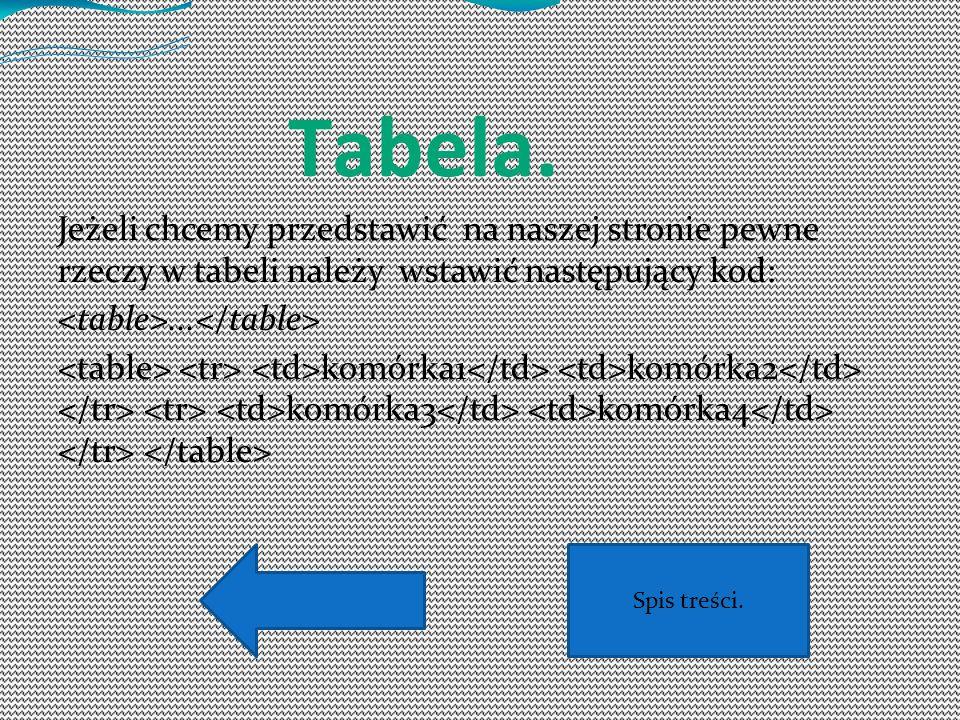 Tabela. Jeżeli chcemy przedstawić na naszej stronie pewne rzeczy w tabeli należy wstawić następujący kod:... komórka1 komórka2 komórka3 komórka4 Spis
