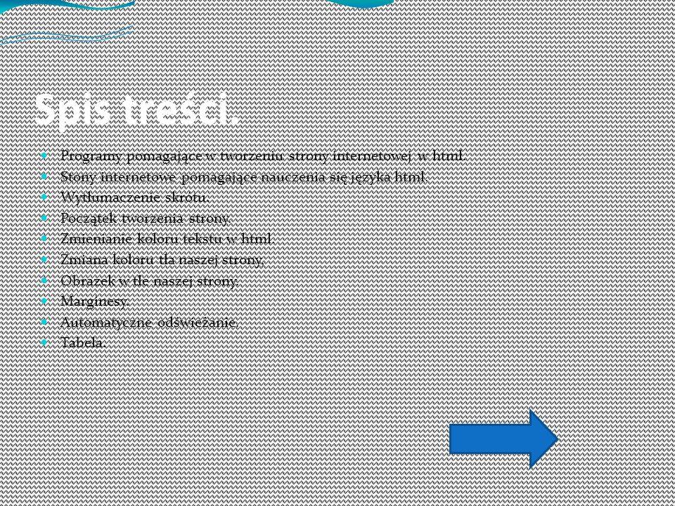 Spis treści. Programy pomagające w tworzeniu strony internetowej w html. Stony internetowe pomagające nauczenia się języka html. Wytłumaczenie skrótu.