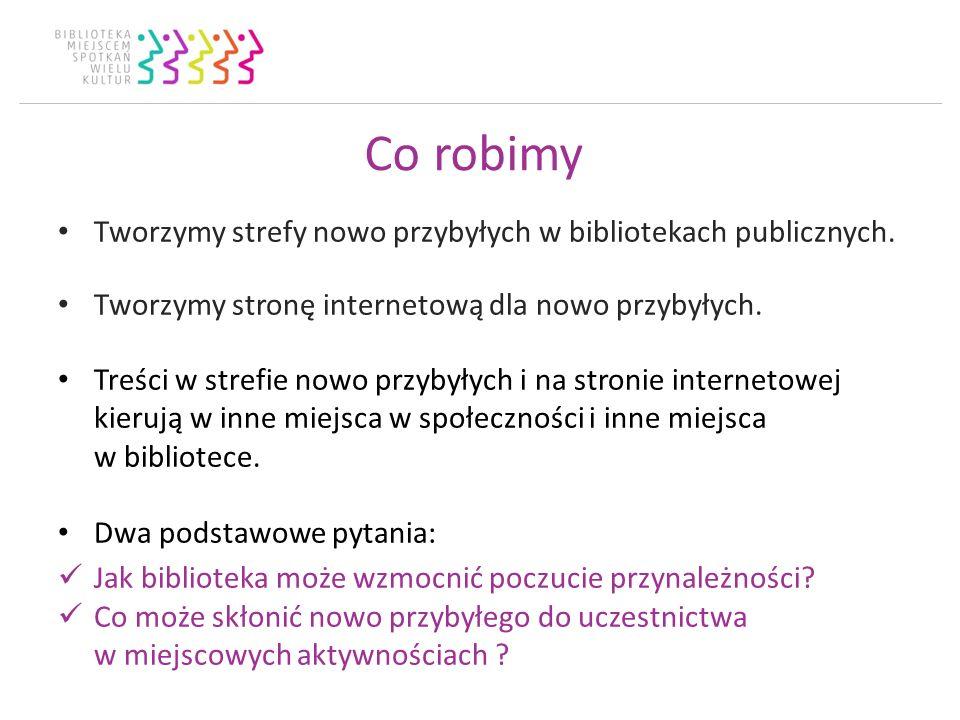 Co robimy Tworzymy strefy nowo przybyłych w bibliotekach publicznych. Tworzymy stronę internetową dla nowo przybyłych. Treści w strefie nowo przybyłyc