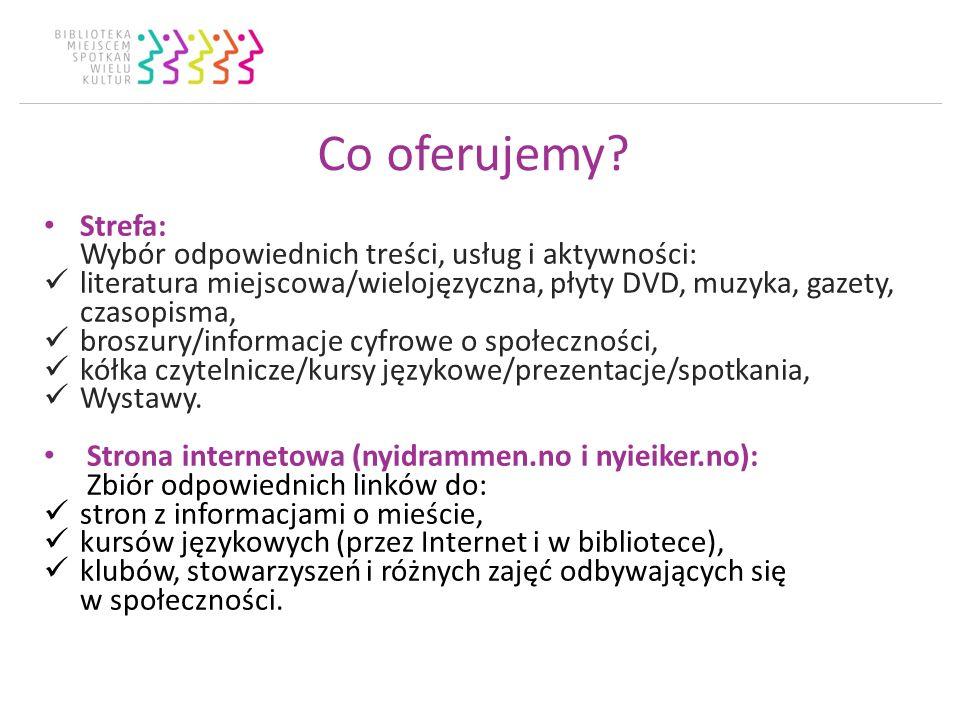Co oferujemy? Strefa: Wybór odpowiednich treści, usług i aktywności: literatura miejscowa/wielojęzyczna, płyty DVD, muzyka, gazety, czasopisma, broszu
