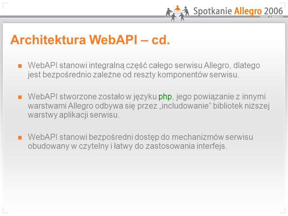 Inne programy komunikujące się z Allegro poprzez interfejs WebAPI Głównie dla Sprzedających Wystawianie aukcji Duża grupa programów typu Customer Relationship Management, przeznaczony do zarządzania transakcjami Indywidualne preferencje Możliwość zmian i rozbudowy