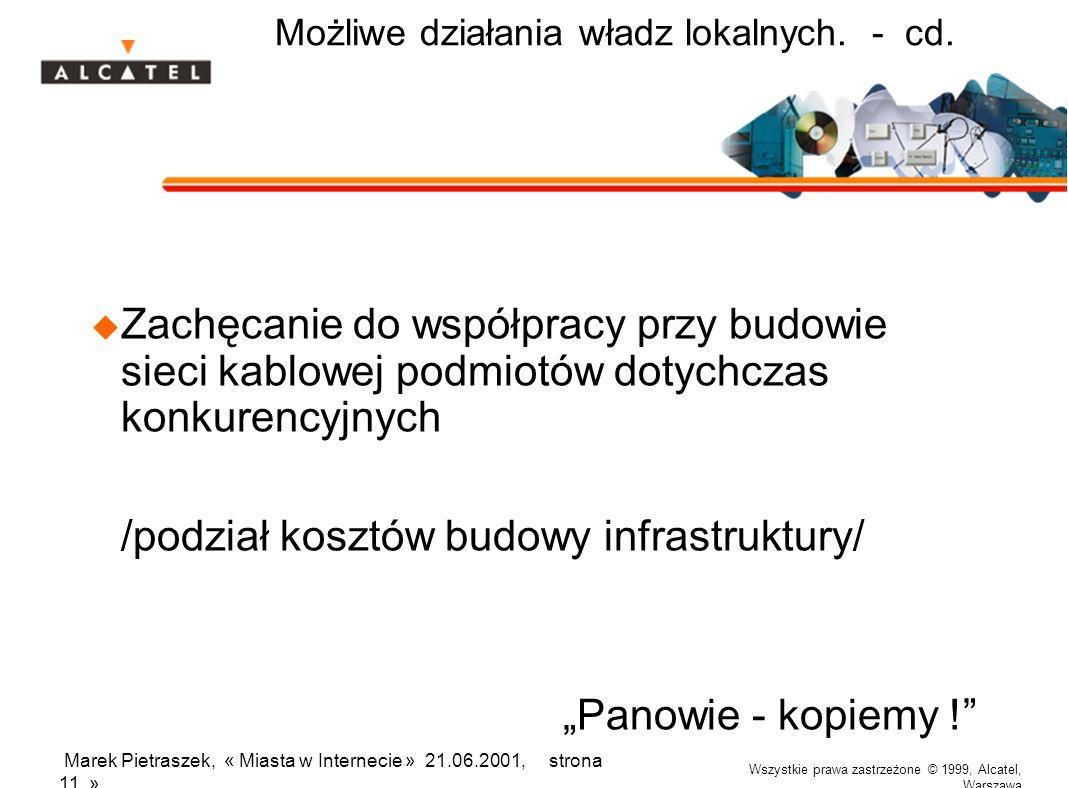 Wszystkie prawa zastrzeżone © 1999, Alcatel, Warszawa Marek Pietraszek, « Miasta w Internecie » 21.06.2001, strona 11 » Możliwe działania władz lokalnych.