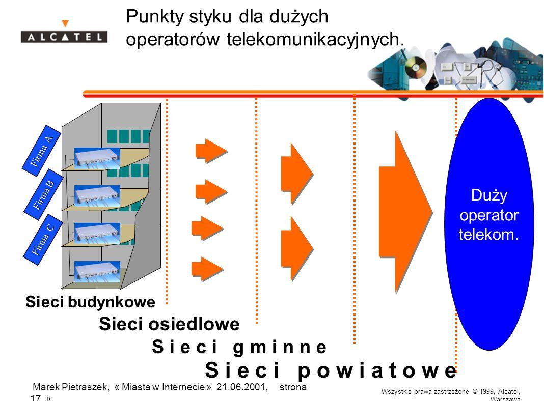 Wszystkie prawa zastrzeżone © 1999, Alcatel, Warszawa Marek Pietraszek, « Miasta w Internecie » 21.06.2001, strona 17 » Punkty styku dla dużych operat