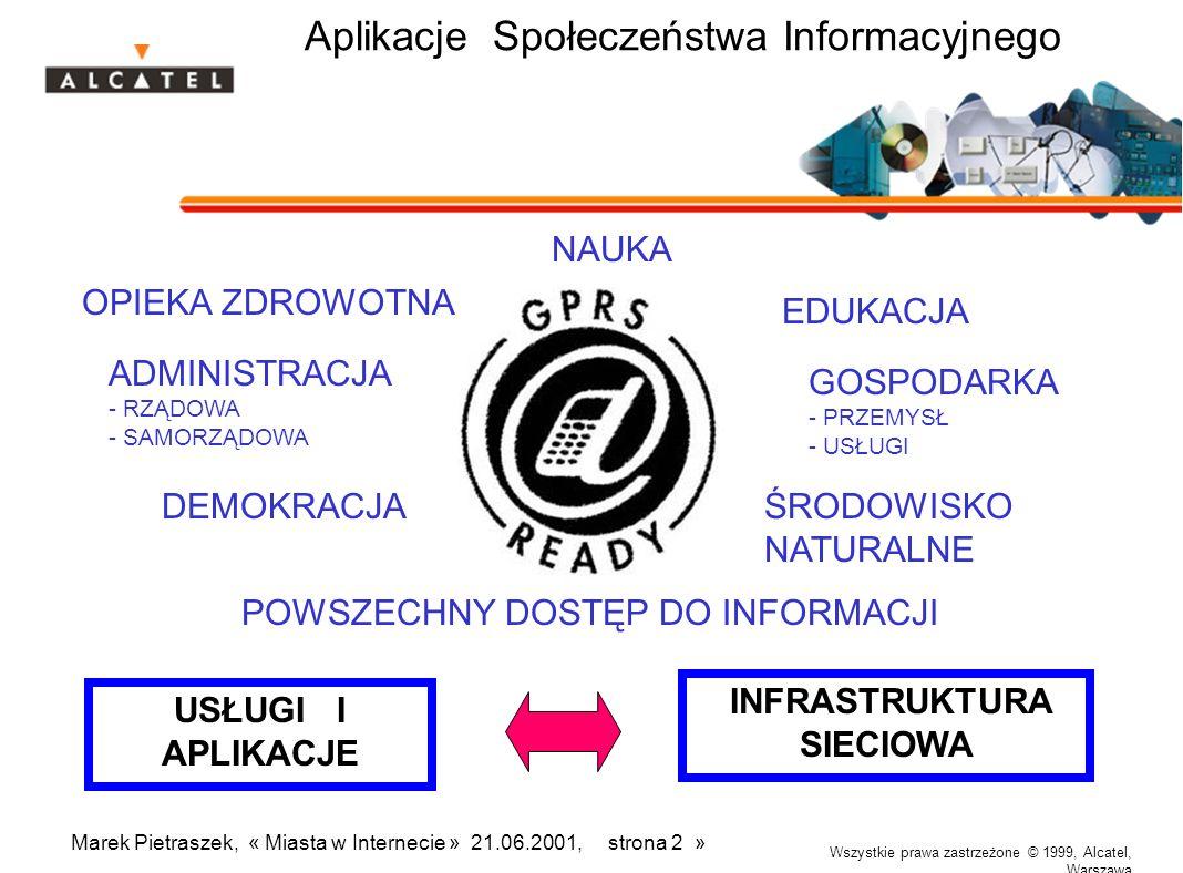 Wszystkie prawa zastrzeżone © 1999, Alcatel, Warszawa Marek Pietraszek, « Miasta w Internecie » 21.06.2001, strona 2 » Aplikacje Społeczeństwa Informa