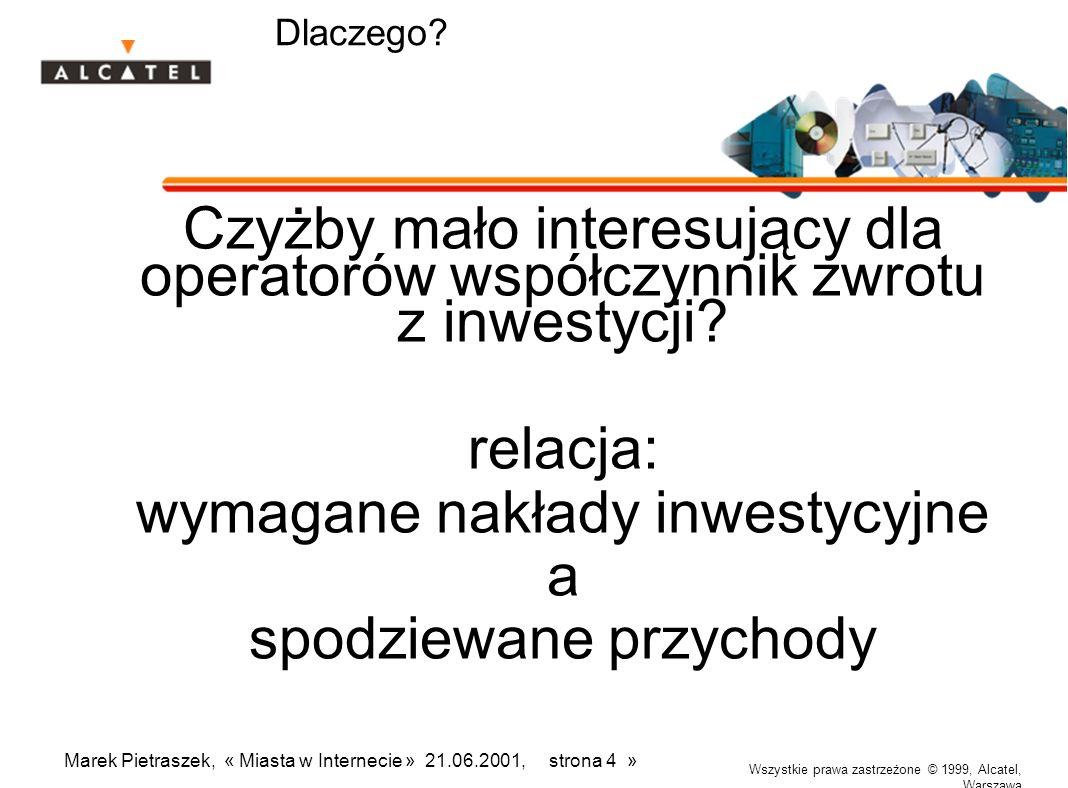 Wszystkie prawa zastrzeżone © 1999, Alcatel, Warszawa Marek Pietraszek, « Miasta w Internecie » 21.06.2001, strona 4 » Dlaczego? Czyżby mało interesuj
