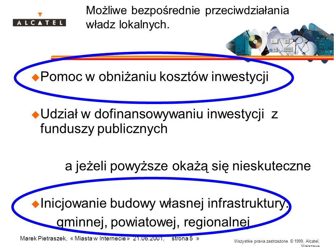 Wszystkie prawa zastrzeżone © 1999, Alcatel, Warszawa Marek Pietraszek, « Miasta w Internecie » 21.06.2001, strona 5 » Możliwe bezpośrednie przeciwdziałania władz lokalnych.