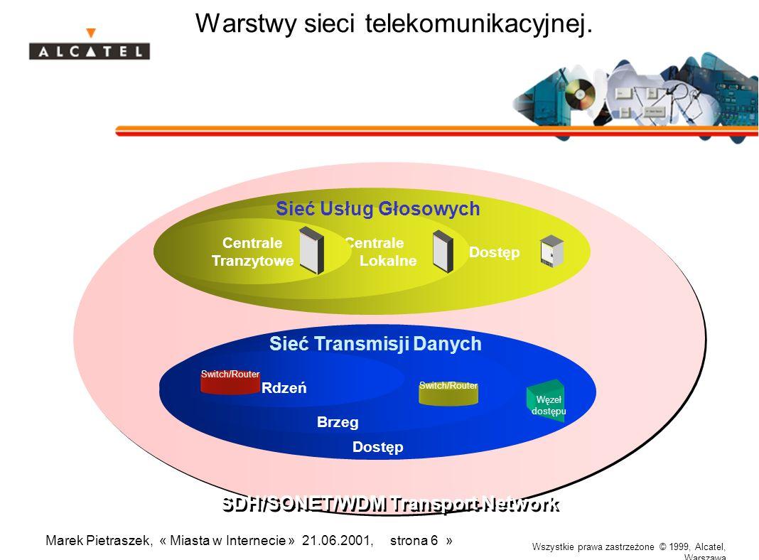 Wszystkie prawa zastrzeżone © 1999, Alcatel, Warszawa Marek Pietraszek, « Miasta w Internecie » 21.06.2001, strona 6 » SDH/SONET/WDM Transport Network