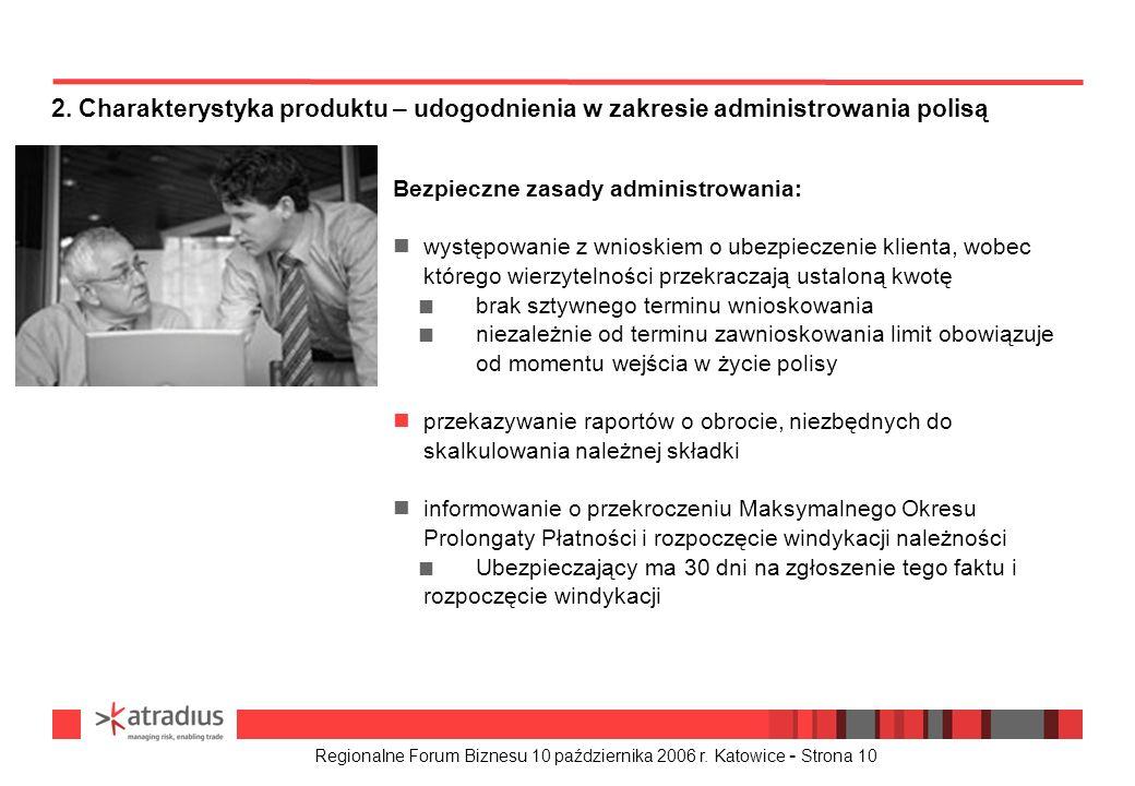 Regionalne Forum Biznesu 10 października 2006 r. Katowice - Strona 10 Bezpieczne zasady administrowania: n występowanie z wnioskiem o ubezpieczenie kl