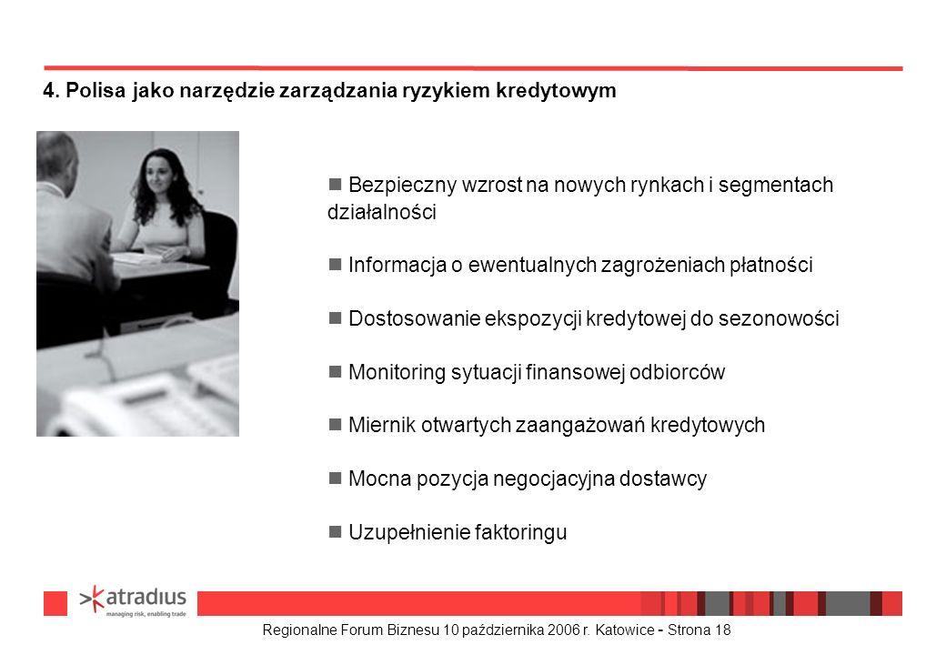 Regionalne Forum Biznesu 10 października 2006 r. Katowice - Strona 18 4. Polisa jako narzędzie zarządzania ryzykiem kredytowym n Bezpieczny wzrost na