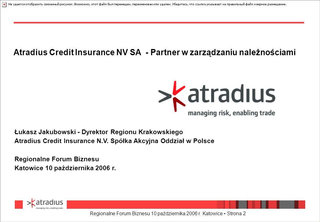 Regionalne Forum Biznesu 10 października 2006 r. Katowice - Strona 2 Atradius Credit Insurance NV SA - Partner w zarządzaniu należnościami Łukasz Jaku