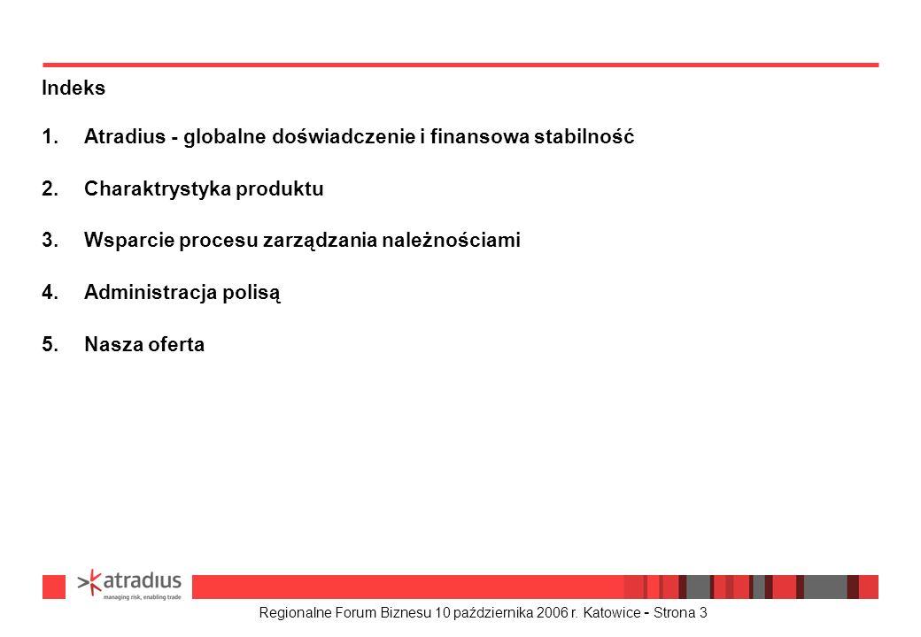 Regionalne Forum Biznesu 10 października 2006 r. Katowice - Strona 3 1.Atradius - globalne doświadczenie i finansowa stabilność 2.Charaktrystyka produ