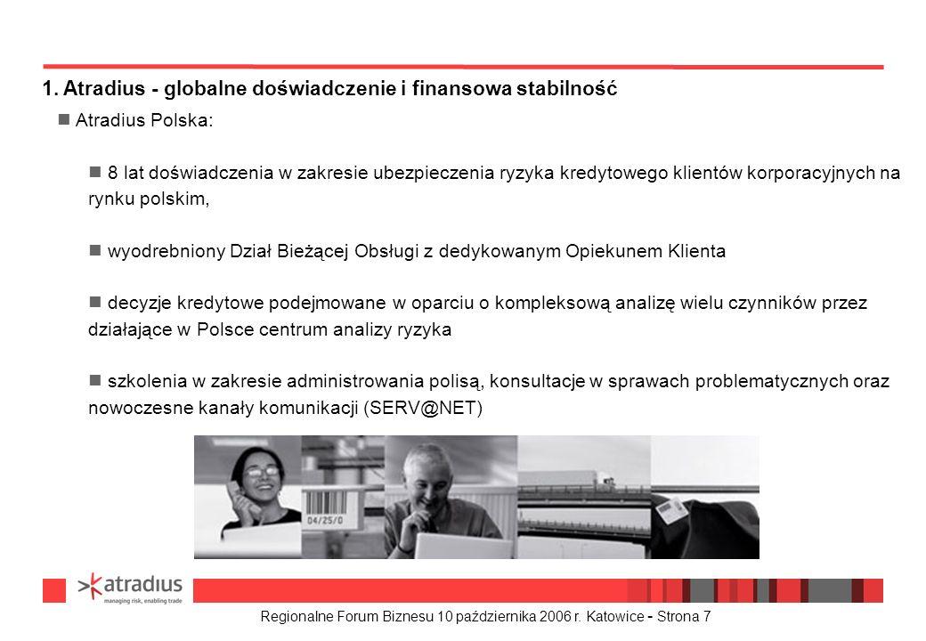 Regionalne Forum Biznesu 10 października 2006 r. Katowice - Strona 7 1. Atradius - globalne doświadczenie i finansowa stabilność n Atradius Polska: 8