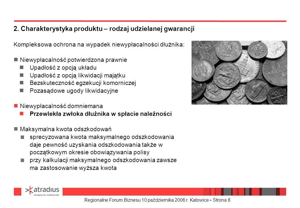 Regionalne Forum Biznesu 10 października 2006 r. Katowice - Strona 8 Kompleksowa ochrona na wypadek niewypłacalności dłużnika: n Niewypłacalność potwi