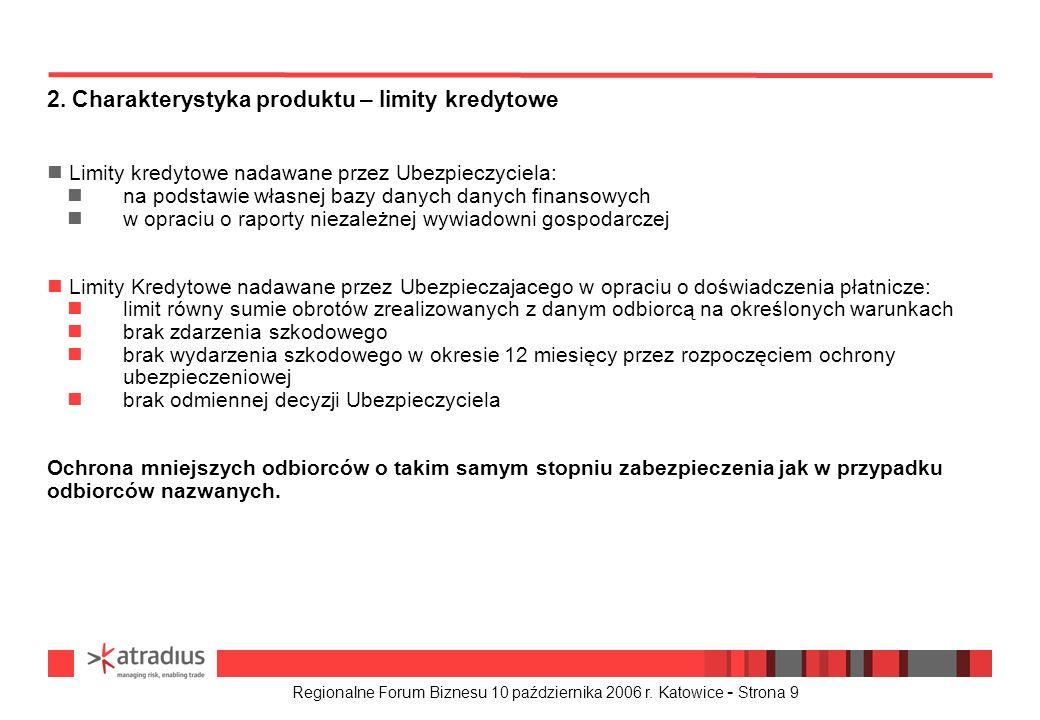 Regionalne Forum Biznesu 10 października 2006 r. Katowice - Strona 9 n Limity kredytowe nadawane przez Ubezpieczyciela: na podstawie własnej bazy dany