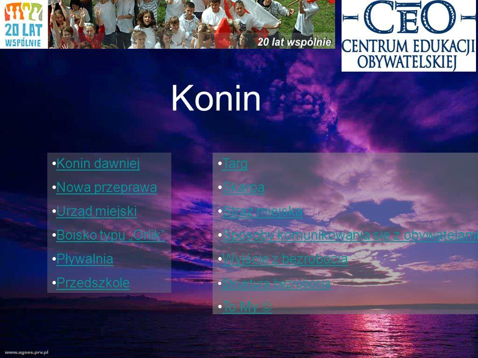 Konin Konin dawniej Nowa przeprawa Urząd miejski Boisko typu Orlik Pływalnia Przedszkole Targ Skarpa Straż miejska Sposoby komunikowania się z obywate