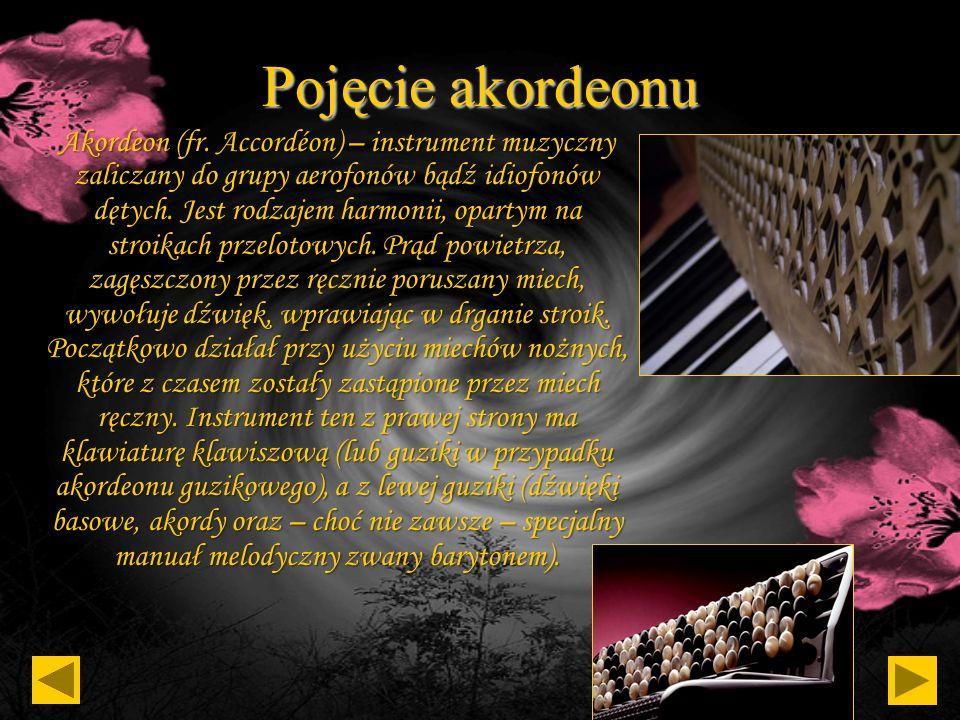Spis treści: Pojęcie akordeonu Pojęcie aerofonu i idiofonu Historia akordeonu Budowa akordeonu Bandoneon Koncertyna Astor Piazzola Neuvo tango Richard