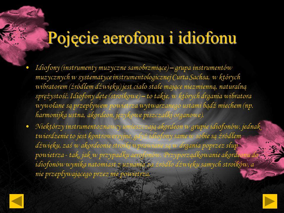Pojęcie aerofonu i idiofonu Aerofony - grupa instrumentów muzycznych w systematyce instrumentologicznej Curta Sachsa, w których wibratorem (źródłem dź