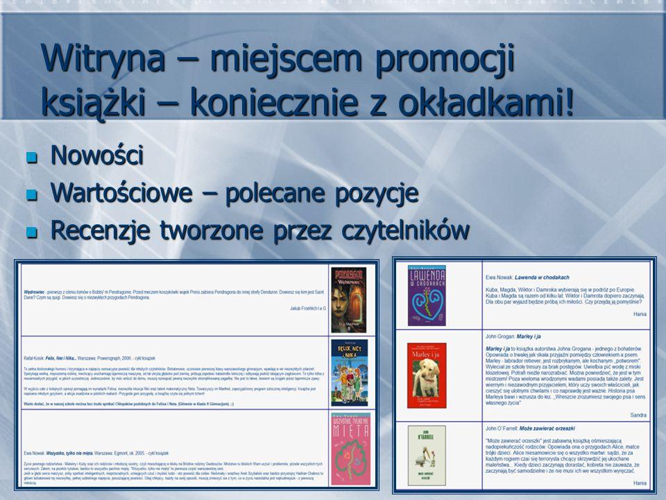 Witryna – miejscem promocji książki – koniecznie z okładkami.