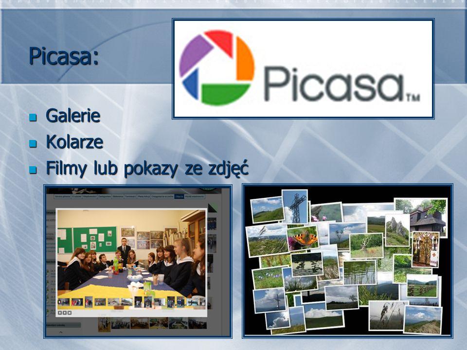 Picasa: Galerie Galerie Kolarze Kolarze Filmy lub pokazy ze zdjęć Filmy lub pokazy ze zdjęć
