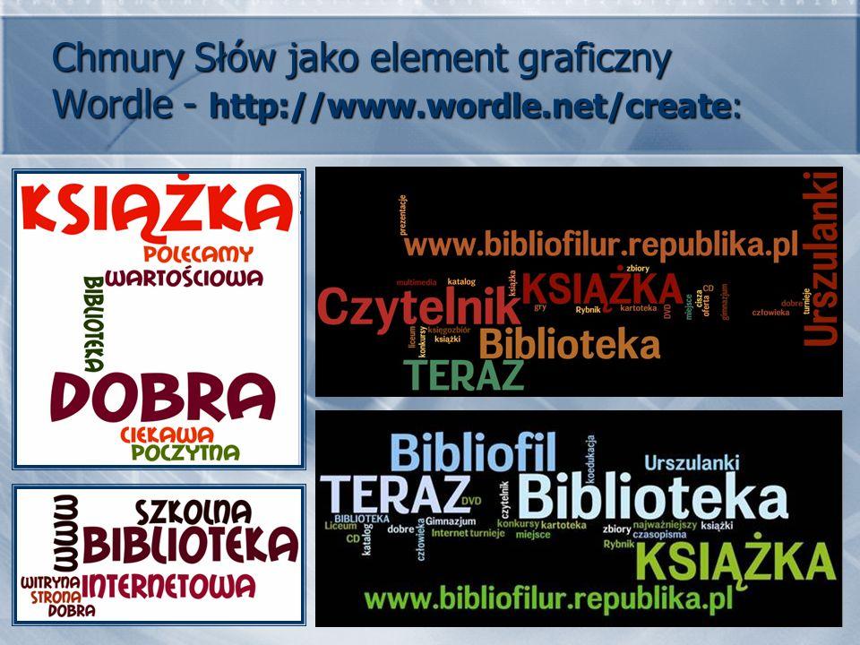Chmury Słów jako element graficzny Wordle - http://www.wordle.net/create: