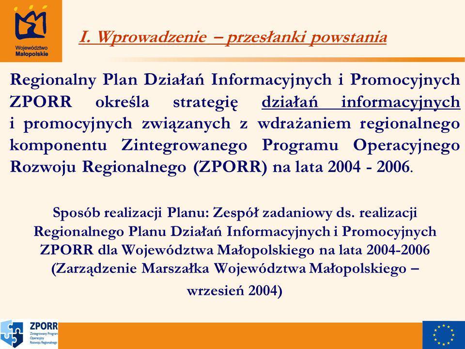 Regionalny Plan Działań Informacyjnych i Promocyjnych ZPORR określa strategię działań informacyjnych i promocyjnych związanych z wdrażaniem regionalnego komponentu Zintegrowanego Programu Operacyjnego Rozwoju Regionalnego (ZPORR) na lata 2004 - 2006.