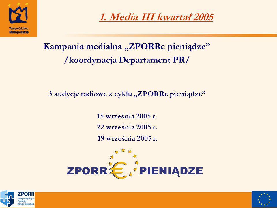 1. Media III kwartał 2005 Kampania medialna ZPORRe pieniądze /koordynacja Departament PR/ 3 audycje radiowe z cyklu ZPORRe pieniądze 15 września 2005