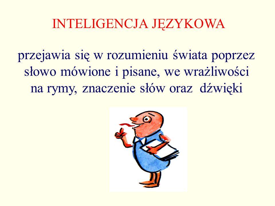 INTELIGENCJA JĘZYKOWA przejawia się w rozumieniu świata poprzez słowo mówione i pisane, we wrażliwości na rymy, znaczenie słów oraz dźwięki