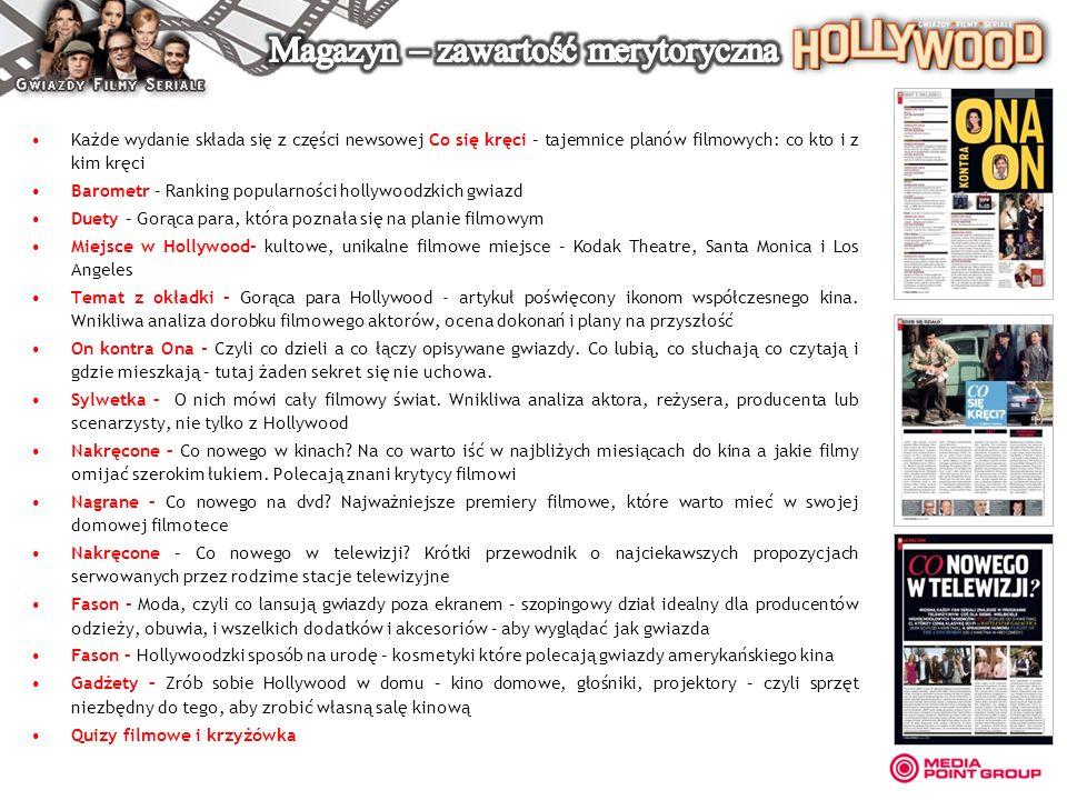 Każde wydanie składa się z części newsowej Co się kręci – tajemnice planów filmowych: co kto i z kim kręci Barometr – Ranking popularności hollywoodzk