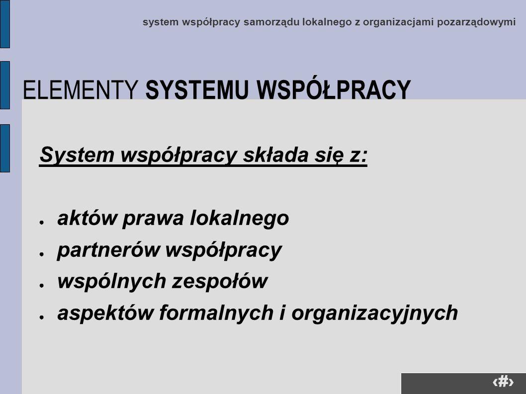 14 system współpracy samorządu lokalnego z organizacjami pozarządowymi System współpracy składa się z: aktów prawa lokalnego partnerów współpracy wspó