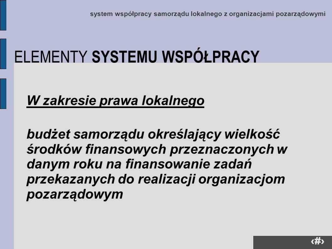 18 system współpracy samorządu lokalnego z organizacjami pozarządowymi W zakresie prawa lokalnego budżet samorządu określający wielkość środków finans