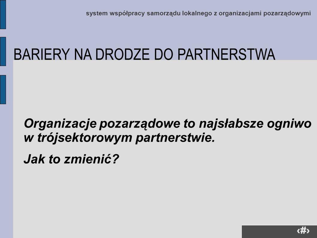 2 system współpracy samorządu lokalnego z organizacjami pozarządowymi Organizacje pozarządowe to najsłabsze ogniwo w trójsektorowym partnerstwie. Jak