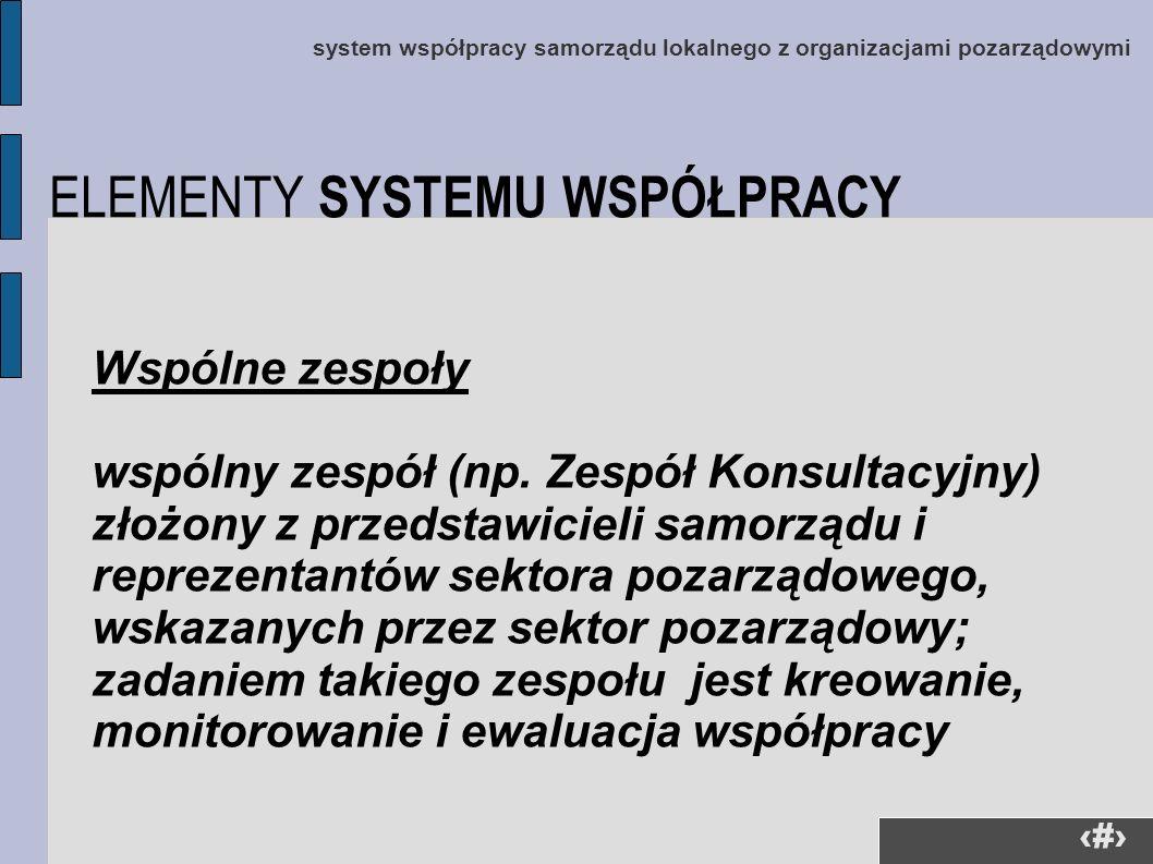 23 system współpracy samorządu lokalnego z organizacjami pozarządowymi Wspólne zespoły wspólny zespół (np. Zespół Konsultacyjny) złożony z przedstawic
