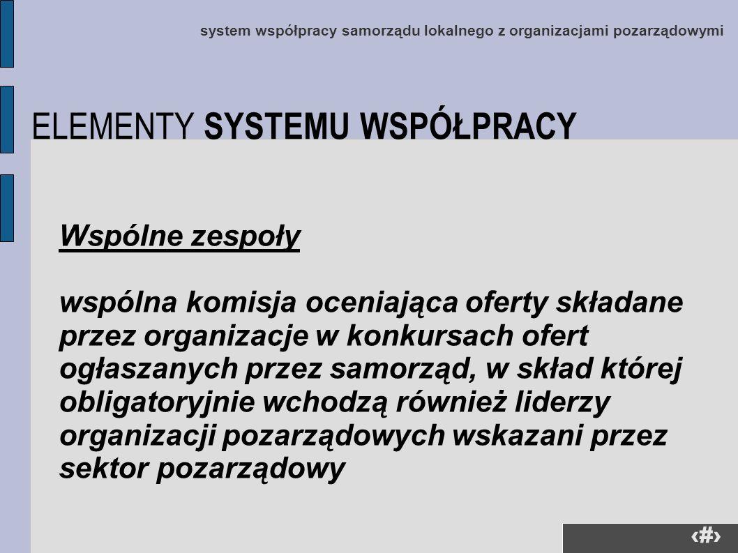 24 system współpracy samorządu lokalnego z organizacjami pozarządowymi Wspólne zespoły wspólna komisja oceniająca oferty składane przez organizacje w