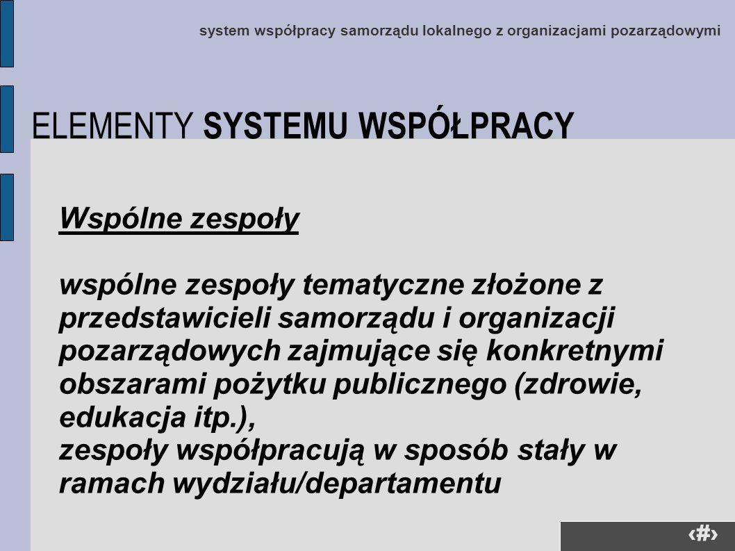 25 system współpracy samorządu lokalnego z organizacjami pozarządowymi Wspólne zespoły wspólne zespoły tematyczne złożone z przedstawicieli samorządu