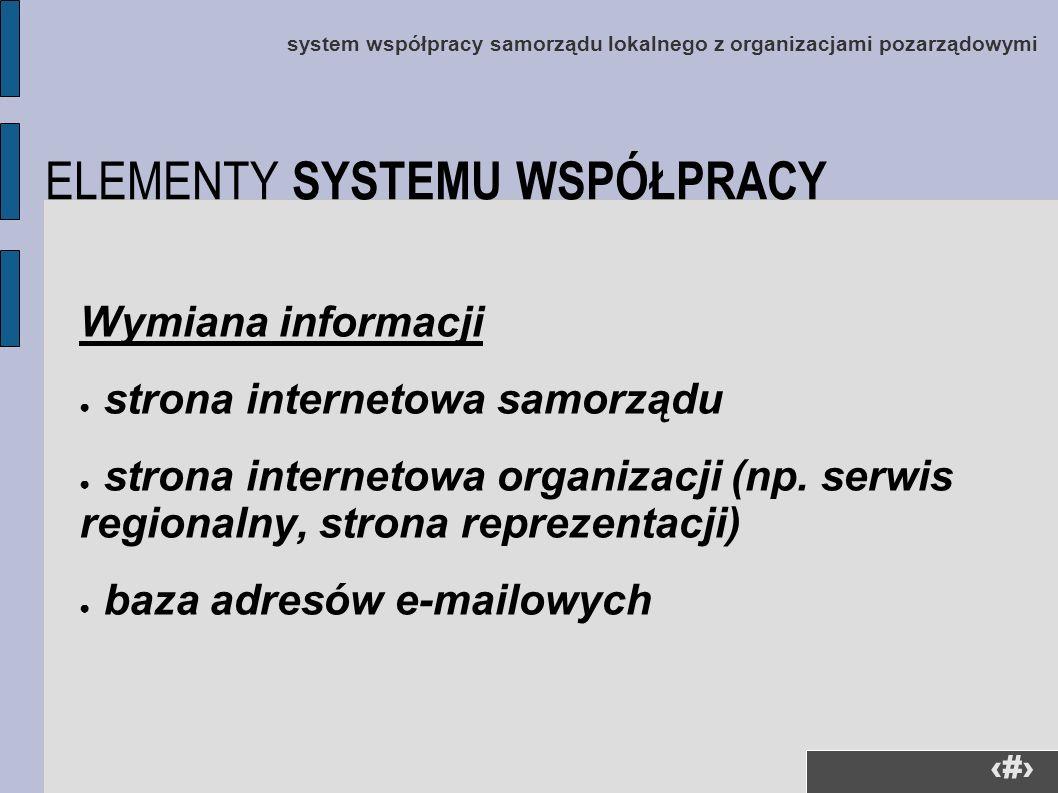 28 system współpracy samorządu lokalnego z organizacjami pozarządowymi Wymiana informacji strona internetowa samorządu strona internetowa organizacji