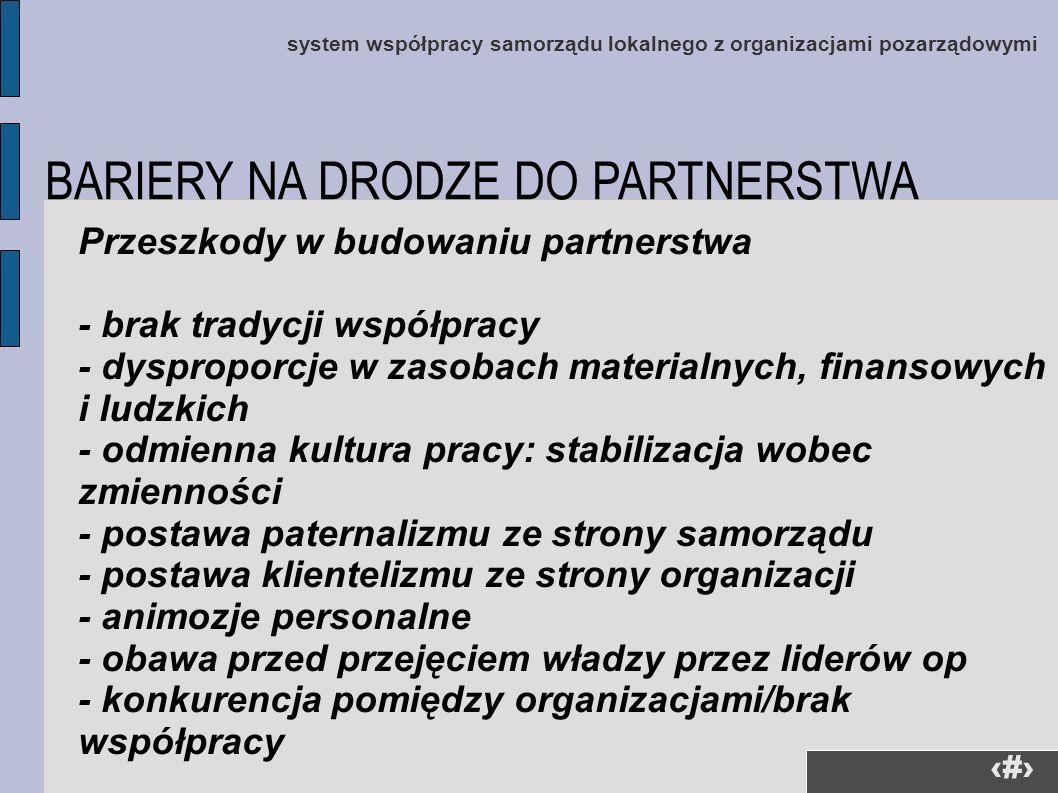 3 system współpracy samorządu lokalnego z organizacjami pozarządowymi Przeszkody w budowaniu partnerstwa - brak tradycji współpracy - dysproporcje w z